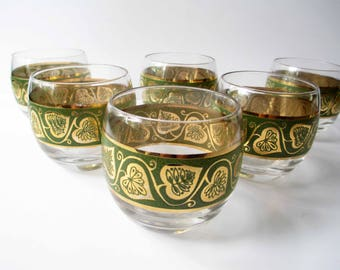 Vintage Roly Poly Green Gold Leaf Bar Glasses Set of Six - So Mod