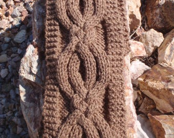 Unisex cable scarf, knit cable scarf, knitted cable scarf, knit winter scarf, men's scarf, woman's scarf, brown, winter scarf, cable, gift