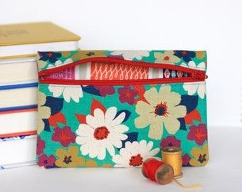 Retro Floral Zipper Pouch Flower Purse Floral Wallet