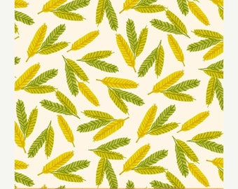 ON SALE Flower Pedals Chartreuse Feathers by Carolyn Gavin for Windham Fabrics