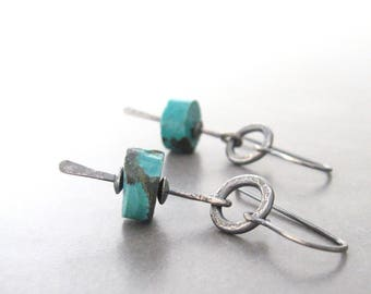 turquoise earrings, oxidized silver earrings, turquoise drop earrings, minimalist silver earrings, rustic turquoise earrings