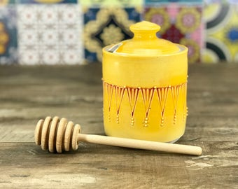 Handmade honey pot. Porcelain honey pot. Mango glazed with red stamped pattern. Petite honey pot. Ceramic honey jar. Wooden honey dipper.