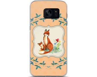 Mother & Baby Fox Cell Phone Case Samsung Galaxy S7, S8, S8+, S7 Edge Foxes Woodland Creature