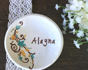 Unique Bridesmaid Gift Dish - Ceramic Personalized Ring Dish w/Flowing Leaves Design - Ring Holder - Ring Bowl - Jewelry Dish