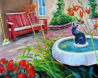 Cat Art - Wall Art - Black Cat Painting - Birdbath Art - Old Town - Albuquerque - New Mexico Art - Original Painting