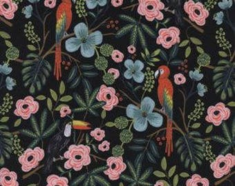 paradise garden, garden midnight, cotton and steel fabric, menagerie rifle paper, rifle paper fabric, rifle paper co, 8028-01