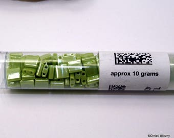Miyuki Tila Beads, 5 x 5 x 1.9mm , 10grams, #439, Opaque Chartreuse Luster Miyuki Tila approx 10 grams, DESTASH