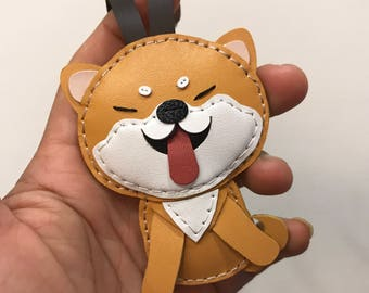 Small size - Flora the Shiba Inu cowhide leather charm ( Light Brown / white )