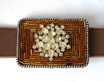 Vintage Rhinestone Belt Buckle - Womans Belt Buckle - Golden Bronze - Small Belt Buckle - Silver Gold Buckle - Womens Gift Ideas