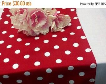 "ON SALE RED Polka Dot Runner X-long table runner 108""  Polka Dot White on Red Table Runner Wedding Bridal Shower Baby Medium Olivia Party"