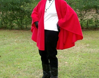 Classic Red Anti Pill Polyester Fleece Shawl, Poncho, Cape, Blanket Scarf, or Wrap-Lightweight Warmth--One Size Fits Most