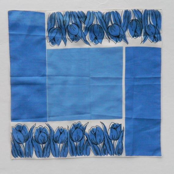 Vintage Blue Tulip Hanky Handkerchief by Kimball