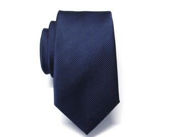 Navy Blue Mens Tie Navy Blue Stripes Skinny Necktie With Matching Pocket Squrae