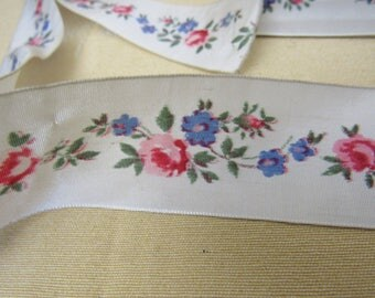 "3+ Yards Vintage 1940s FRENCH Pink Rose Floral Rayon Fabric Ribbon Trim Edging  1-1/2"" Wide Clothing Crafts Sewing Doll Childrens"