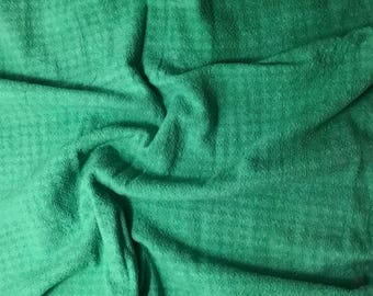 Spring Green - Hand Dyed Checkered Weave Silk Noil - 1 Yard