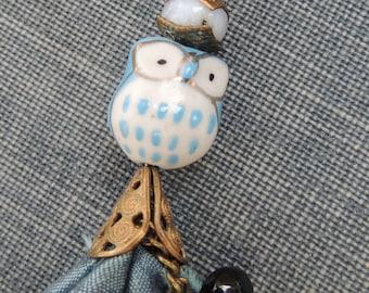 Silk Tassel Necklace / Owl Tassel Necklace / Woodland Necklace / Boho Tassel Necklace / Owl Pendant Necklace / Sari Silk Necklace