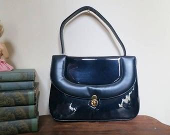 Vintage  Navy Purse Matte and Shiny Patent Vinyl - unused Vintage 1960s Handbag