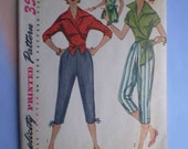 Vintage 50s Wraparound Blouse and Pedal Pushers Pattern 34 28 37