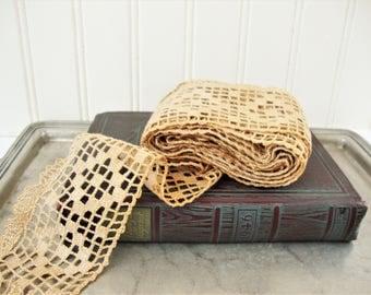 vintage wide lace crochet antique ecru linen color discolored sewing trim destash 3 yards +