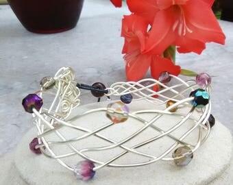 Woven silver wire bracelet