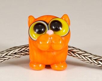 Orange Tabby Cat Big Hole Bead