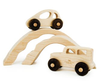 Car and Truck with Bridge Tunnels Toy - Handmade Wooden Toys - Wood Car - Wood Truck - Toddler Gifts - Imaginative Play - Automobiles -TY26