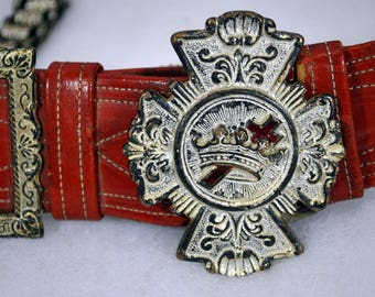 Antique Masonic Knights Templar Leather Belt with Buckle and Chains for Sword - Ceremonial