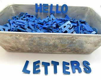 Over 500, 1-inch Blue Plastic Sign Board Letters, Numbers, and Punctuation