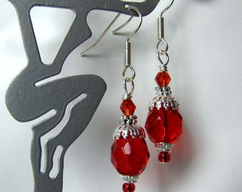 Valentine Red Dangle Earrings, Beaded  Holiday, Red Drop Earrings, Bridesmaid Earrings, Casual.  Surgical Ear Wires, Ready to ship #1302