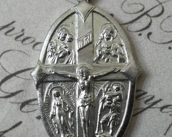 CLEARANCE SALE Holy Cross Medal Silver All Saints Jesus Mary Joseph Christopher Holy Spirit Our Lady Of Mt. Carmel With Crucifix Very Rare J