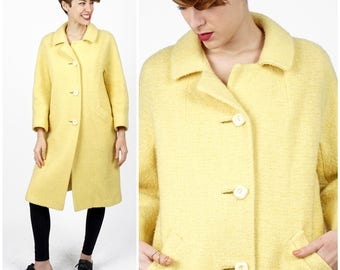 Vintage 1960's Nubby Wool Butter Yellow A-line Swing Coat by Ransohoffs   Medium/Large