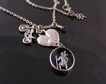 St Christopher Pendant Protection Necklace for Motorbike Riders, St Christopher Necklace, St Christopher Jewelry, St Christopher Medal,N2054