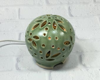 Green Night Light - mood lighting - ambiance light - round table lamp - ceramic night lamp - nursery night light - night light kids