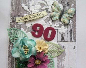 90th Birthday Card - Embellished Card - Handmade Card