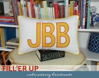 FILL'ER UP Large Applique Monogram Pillow Cover - 12 x 18