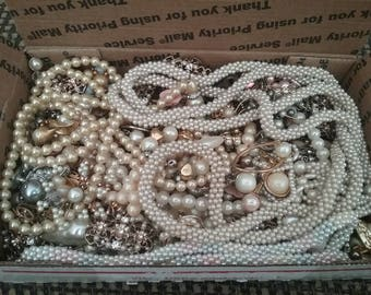 Pearl Lot, Upcycled Jewelry Lot, Jewelry Jar, Pearl Scrap Finds, Pearl Necklace, Pearl Earrings, Pearl Jewelry Lot, Crafters Jewelry Lot