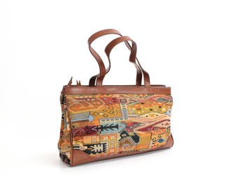 Vintage 1980s Woven Tapestry and Faux Leather Handbag | Tapestry and Leatherette Tote Bag