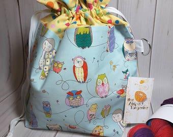 Whimsical Owls Drawstring Project Bag- Medium- Knitting- Crochet- Needlearts- Crafting- Artist