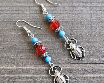 ON SALE Silver Scarab Earrings Egyptian Scarab Beetle Charms Red Crystal & Turquoise Beads Sterling Silver Ear Wires Egypt Earrings