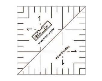 "Bloc-Loc 1.5"" Inch Ruler - Half Square Triangle Ruler - Square Up Ruler for HST - Quilting Tool"