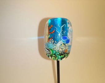 Lampwork bead with 3D jelly fish murrini SRA one of a kind