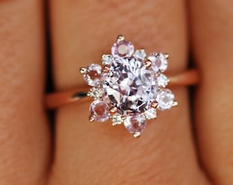 Snowflake ring Sapphire engagement ring Round Peach sapphire ring Diamond ring Rose gold ring engagement ring by Eidelprecious