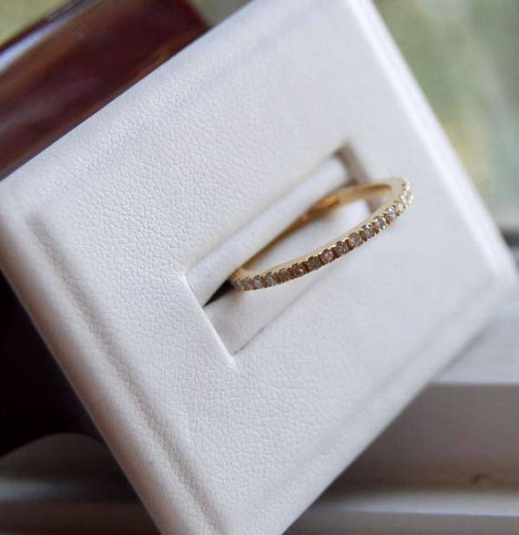 upgrade VS/F -Rose Gold Wedding Band Stackable 14k Rose Gold Diamond Band Half Eternity band