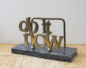 Do it Now. Vintage 1980s brass desk organizer with marble.