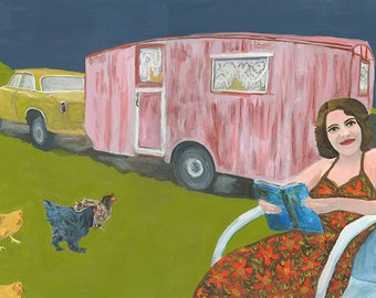 Traveling with chickens. Limited edition print of an original oil painting by Vivienne Strauss.