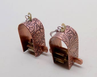 Mixed metal  steampunk jewelry earrings