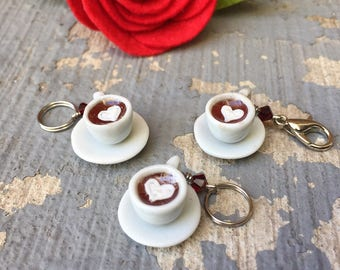 Luv in a Mug: Red Velvet Hot Cocoa Individual Stitch Marker for Knitters & Crocheters