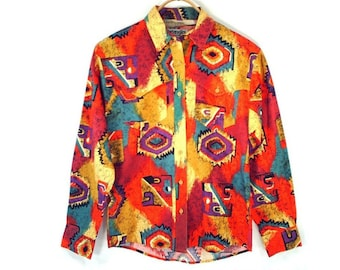 80's southwest COTTON shirt // BRIGHT vintage western shirt // by Wrangler women's S // small