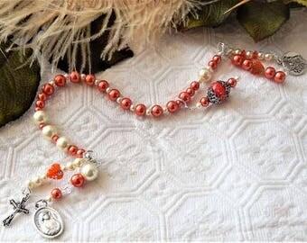 Deep Orange & Ivory Divine Mercy Chaplet W/Charms Saints/Cross/Madonna/Christ