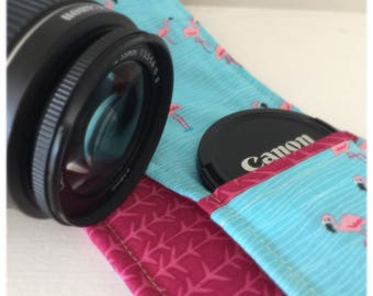 Custom Patchwork Camera Strap Cover with Lens Cap Pocket and Monogram